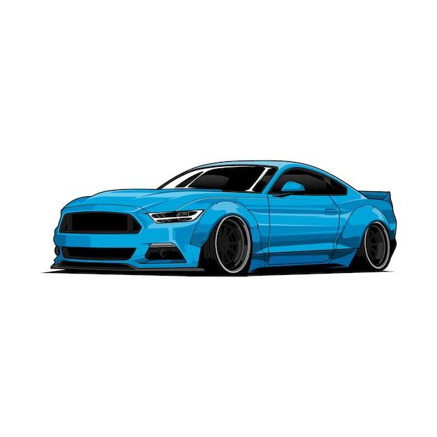 Illustration De Voiture Bleue Vecteur Premium