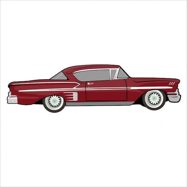 Illustration Voiture Classique Rétro Vintage Vecteur Premium