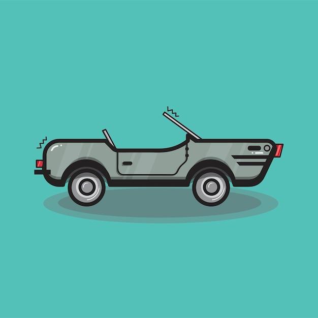 Illustration de voiture décapotable dessinée à la main Vecteur gratuit