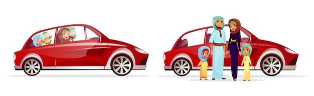 Illustration de voiture familiale arabe. personnages de personnages arabes de dessin animé de mère et père Vecteur gratuit