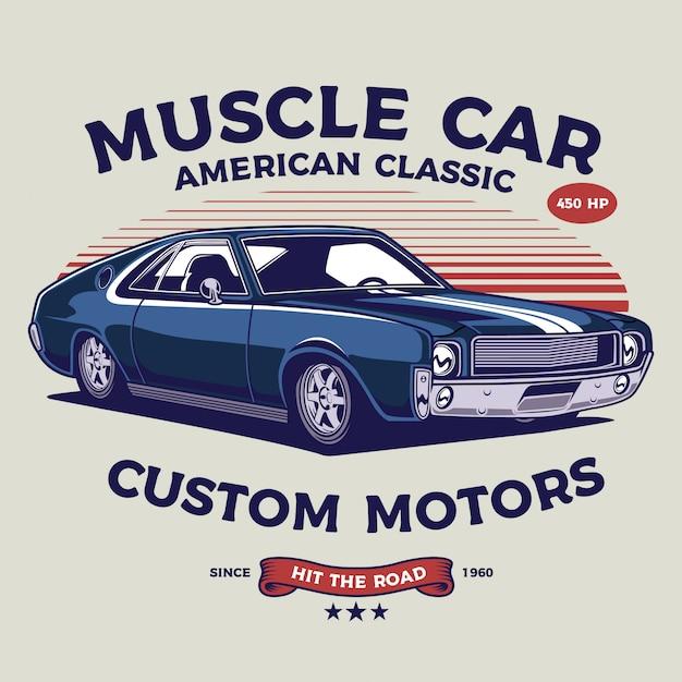 Illustration De Voiture De Muscle Classique Vecteur Premium