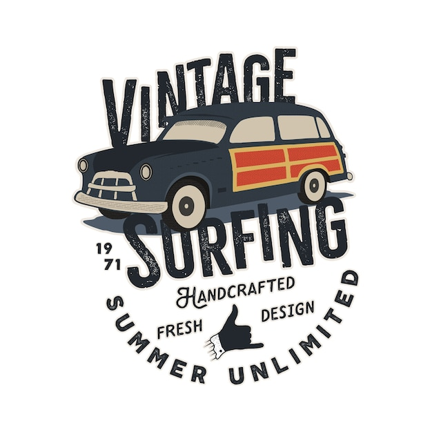 Illustration De Voiture Vintage Dessiné à La Main Vecteur Premium