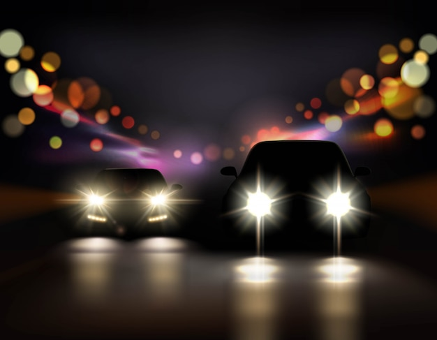 Illustration de voitures de nuit Vecteur gratuit