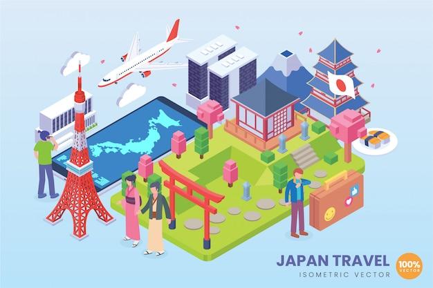 Illustration De Voyage Isométrique Au Japon Vecteur Premium
