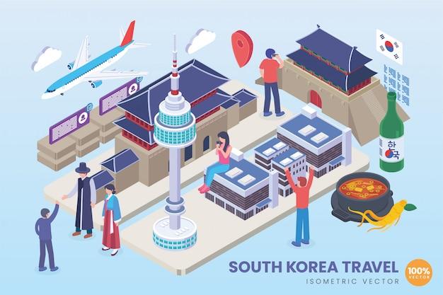 Illustration De Voyage Isométrique En Corée Du Sud Vecteur Premium