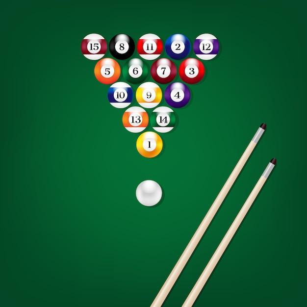 Illustration vue de dessus des boules de billard Vecteur Premium