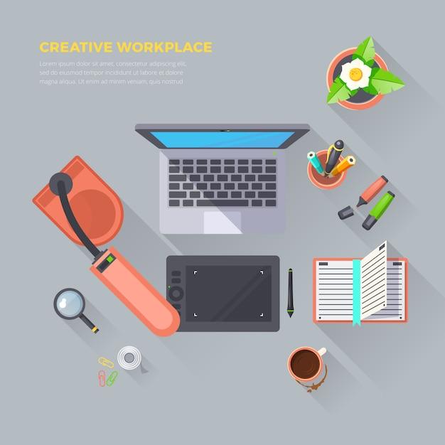 Illustration de la vue de dessus du lieu de travail créatif Vecteur gratuit