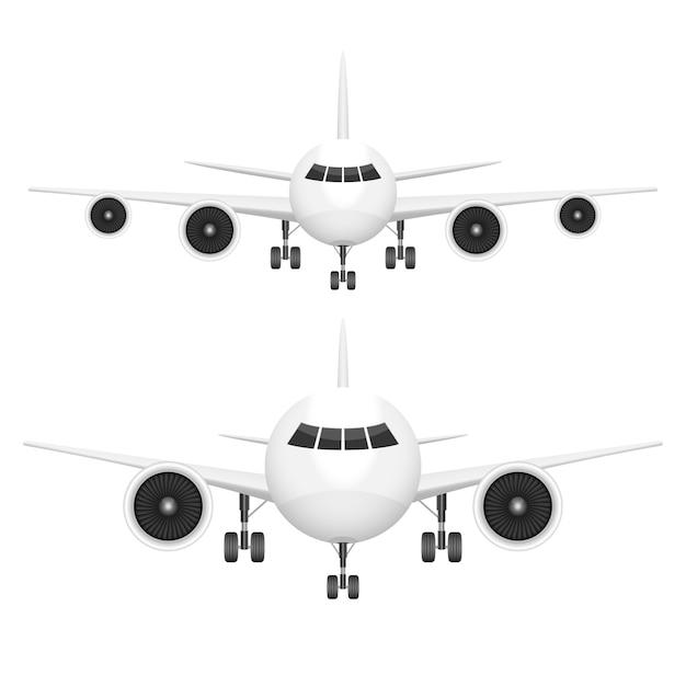 Illustration De Vue De Face D'avion Sur Fond Blanc Vecteur Premium
