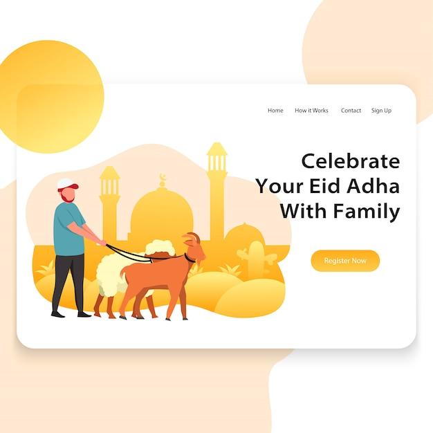 Illustration web de page d'atterrissage de modèle d'eid adha Vecteur Premium