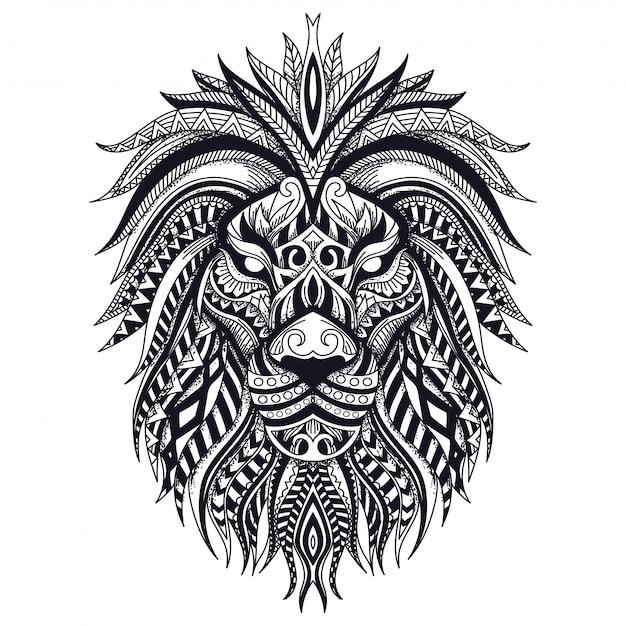 Illustration de zentangle lion ligne art Vecteur Premium