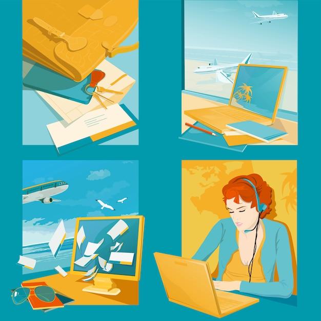 Illustrations D'agence De Voyage Vecteur Premium