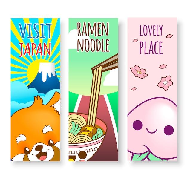 Illustrations au japon verticales de nouilles ramen, nourriture et montagne Vecteur Premium