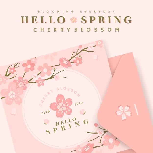 Illustrations de carte de fleur de cerisier Vecteur gratuit
