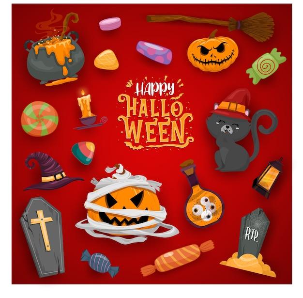 Illustrations De Célébration D'halloween Heureux Vecteur gratuit