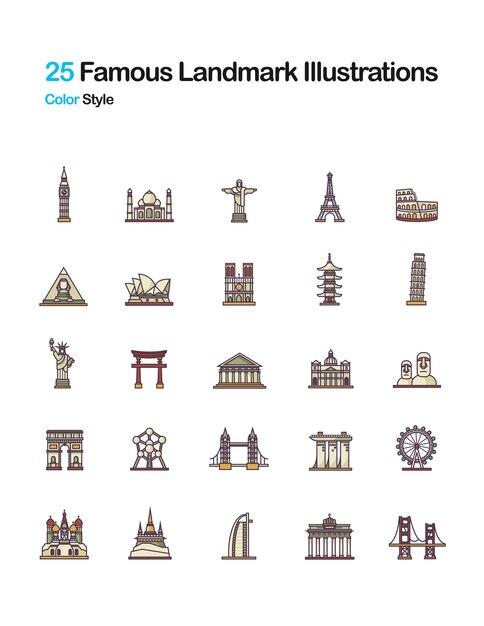 Illustrations célèbres de couleur de landmark Vecteur Premium
