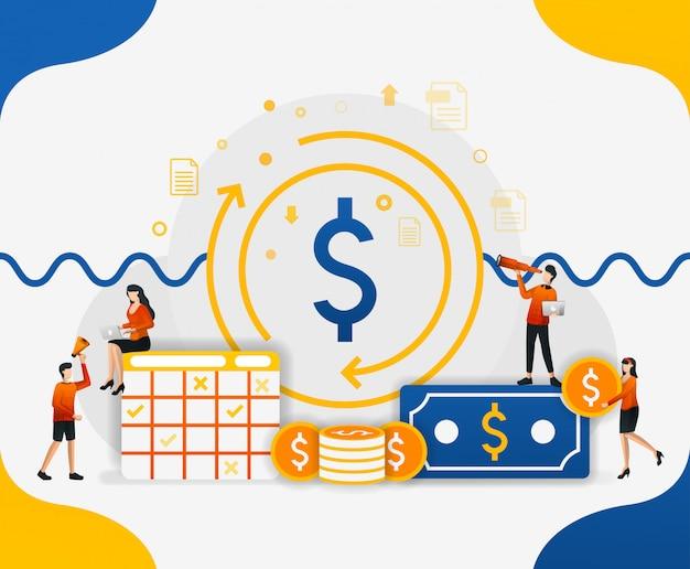 Illustrations de circulation financière et de monnaie Vecteur Premium