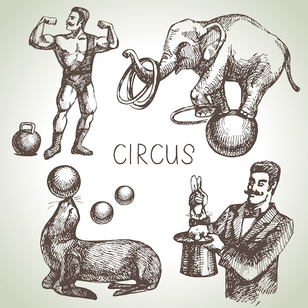 Illustrations De Cirque Et D'amusement Croquis Dessinés à La Main. Ancien Vecteur Premium