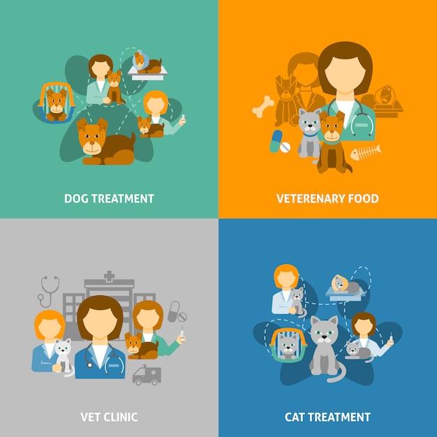Illustrations de la clinique vétérinaire Vecteur gratuit