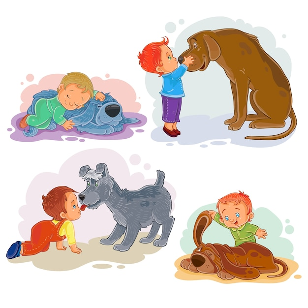 Illustrations clip art des petits garçons et leurs chiens Vecteur gratuit