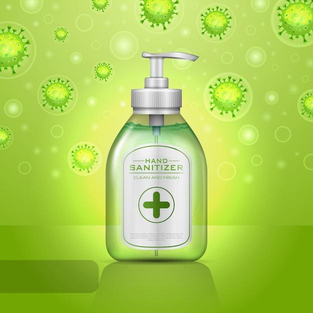 Illustrations Concept De Désinfectant Pour Les Mains Pour La Maladie à Coronavirus Covid-19 Vecteur Premium