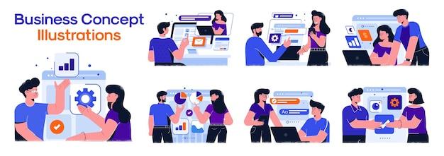 Illustrations De Concept D'entreprise. Vecteur Premium
