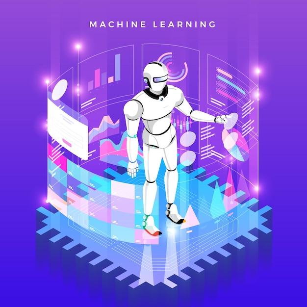 Illustrations Concept Machine Learning Via L'intelligence Artificielle Avec Des Données D'analyse Technologique Et Des Connaissances. Isométrique. Vecteur Premium