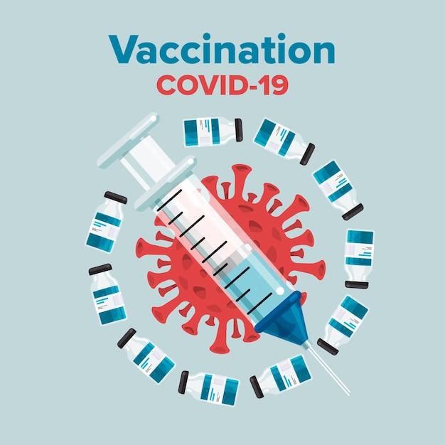 Illustrations Concept Vaccin Pour Covid-19 Vecteur Premium