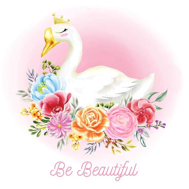 Illustrations de cygne blanc avec des fleurs d'aquarelle Vecteur Premium