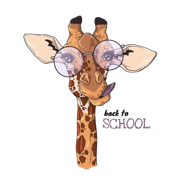 Illustrations de dessin vectoriel. portrait de girafe drôle à lunettes. Vecteur Premium