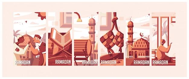 Illustrations du ramadan Vecteur Premium