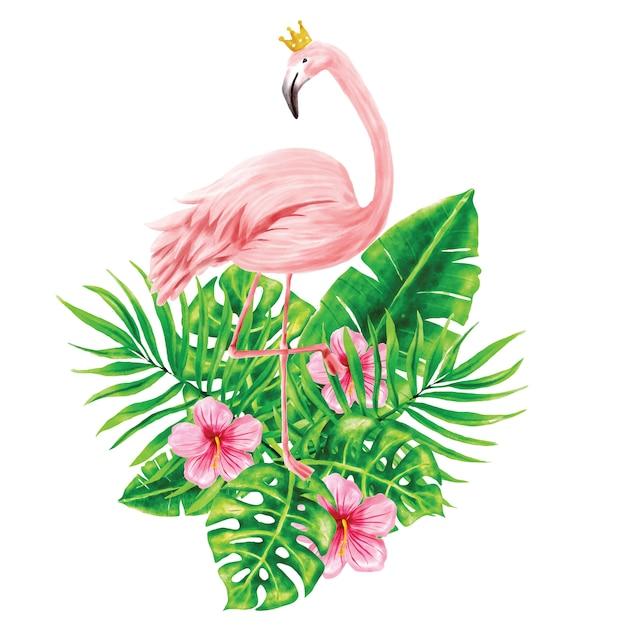 Illustrations de flamants roses et de feuillages tropicaux Vecteur Premium