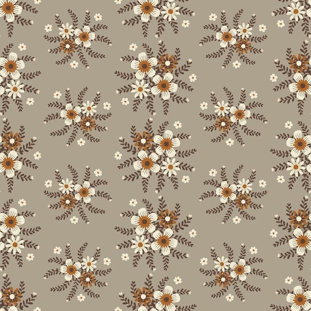 Illustrations florales pour vêtements et tissus à la mode, automne fleurs guirlande style lierre avec branche et feuilles. fond de modèles sans soudure. Vecteur Premium