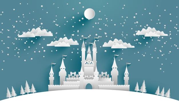 Illustrations Grand Chateau En Hiver Pour Les Arriere Plans
