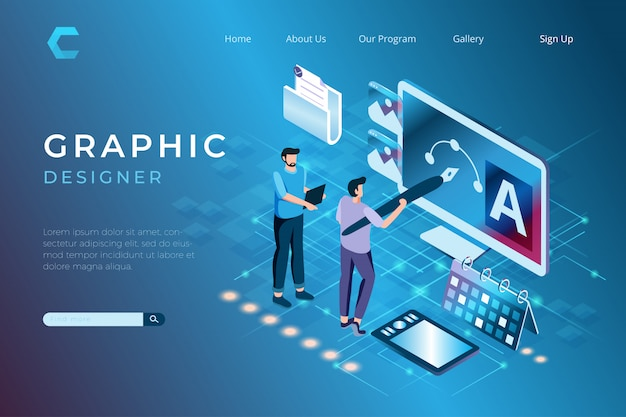 Illustrations De Graphiste Travaillant Sur Des Projets, Conception D'œuvres D'art Dans Un Style 3d Isométrique Vecteur Premium
