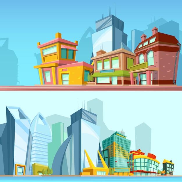Illustrations Horizontales Avec Des Rues Urbaines Et Des Bâtiments Modernes. Vecteur Premium