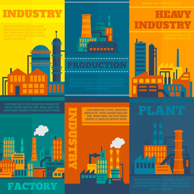 Illustrations de l'industrie avec ensemble de modèles de texte Vecteur gratuit