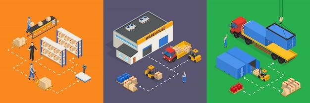 Illustrations isométriques d'entrepôt Vecteur gratuit