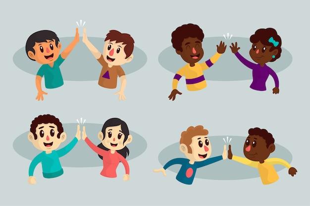 Illustrations De Jeunes Donnant Cinq Haut Ensemble Vecteur gratuit