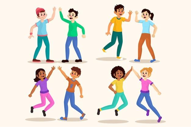 Illustrations De Jeunes Faisant Bonne Collection Vecteur gratuit