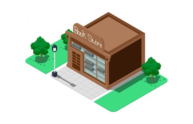 Illustrations de librairie isométrique Vecteur Premium
