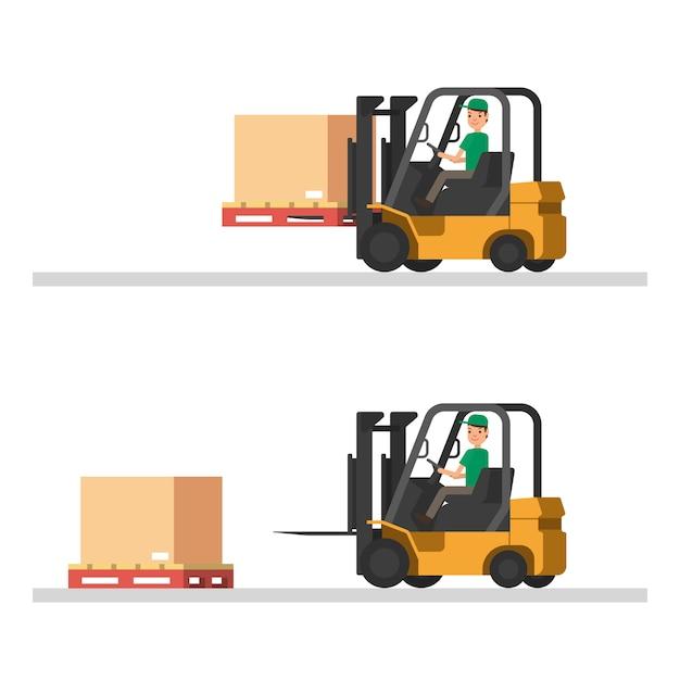 Illustrations logistiques. chargement de camions, chariots élévateurs et ouvriers Vecteur Premium