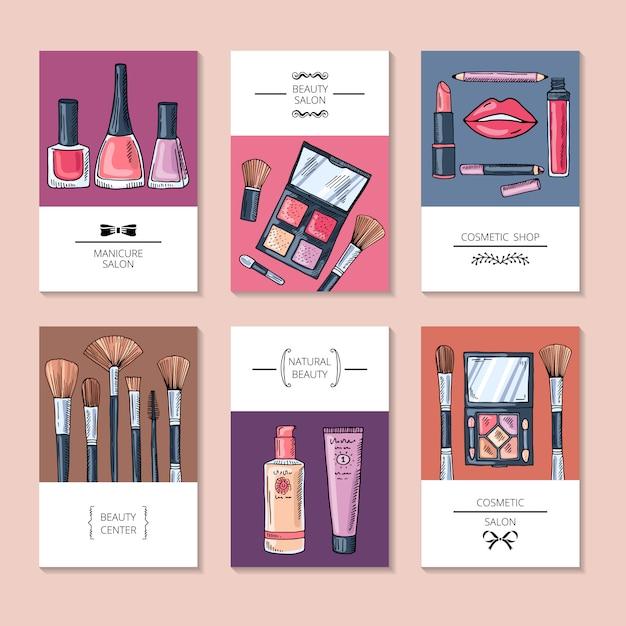 Illustrations de maquillage en style cartoon. beau sourire sexy lèvres femme Vecteur Premium