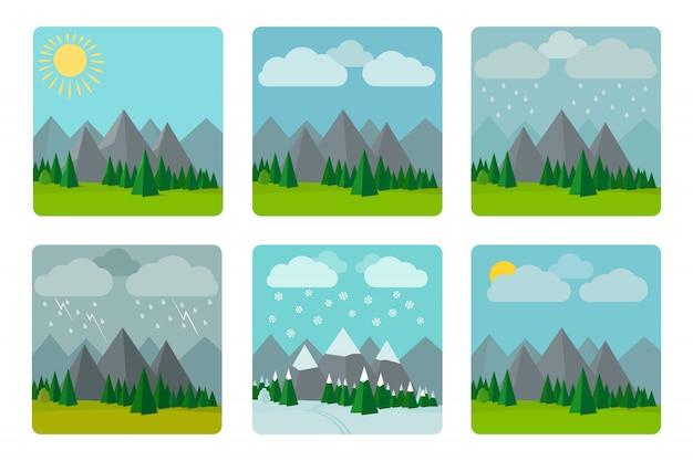Illustrations météo en style plat Vecteur Premium