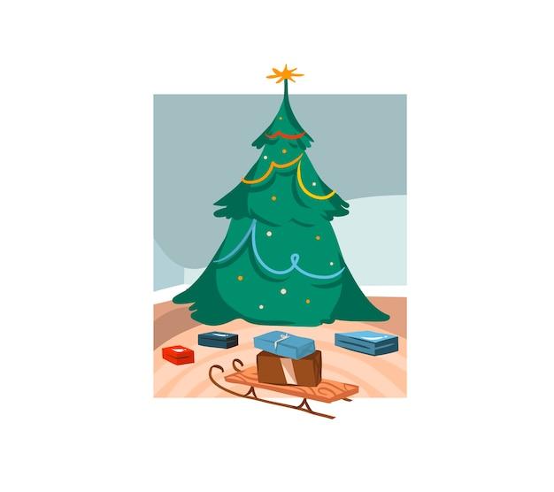 Illustrations Mignonnes De Grand Arbre De Noël Décoré Et Coffrets Cadeaux Isolés à L'intérieur Vecteur Premium