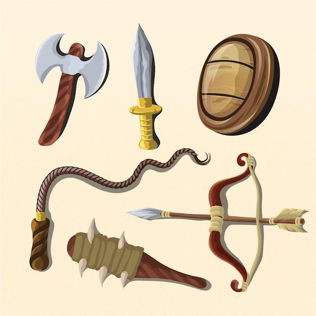 Illustrations D'outils D'arme De Siège Vecteur Premium