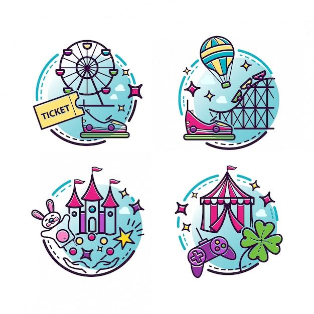 Illustrations De Parc D'attractions, Icônes De Contour Vecteur Premium