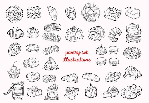 Illustrations de pâtisserie Vecteur Premium
