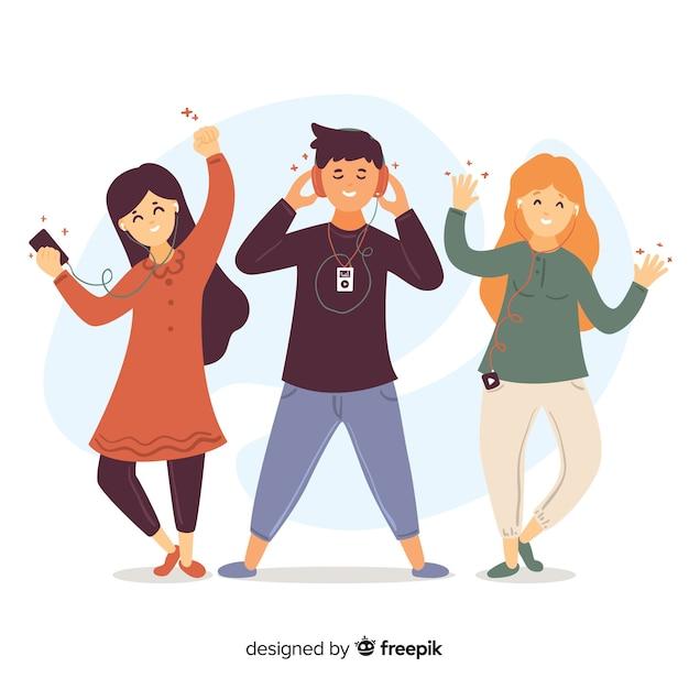Illustrations de personnes écoutant de la musique sur des écouteurs Vecteur gratuit