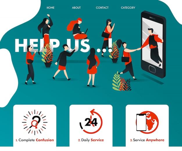 Les illustrations plates vertes nous aident pour les pages web Vecteur Premium