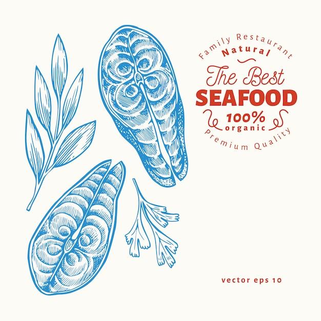 Illustrations de steaks de poisson. illustration de fruits de mer de vecteur dessiné à la main. style gravé. nourriture rétro, morceau de saumon ou de truite Vecteur Premium